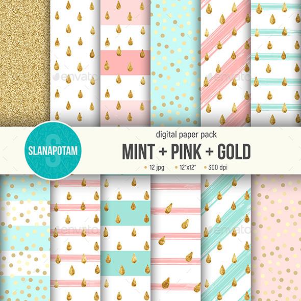 Mint-Pink-Gold Digital Paper Pack - Patterns Backgrounds