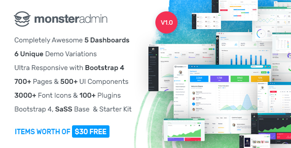 Monster - Most Complete Bootstrap 4 Admin Template - Admin Templates Site Templates