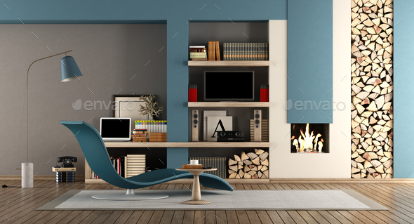Blue and brown living room with fireplace - Stock Photo - Images