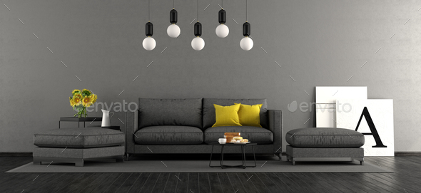 Black and gray living room - Stock Photo - Images