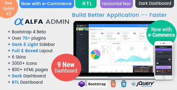 Alfa - Responsive Bootstrap 4 Admin Dashboard Template, UI and WebApp Template