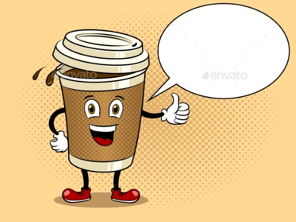 Coffee Cup and Thumb Up Pop Art Vector - Food Objects