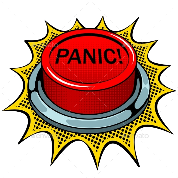 Panic Red Button Pop Art Vector Illustration By Alexanderpokusay