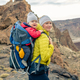 Family hike, mother with baby in backpack - PhotoDune Item for Sale