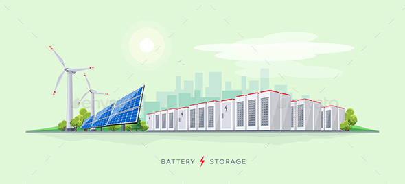 Electric Power Station with Battery Storage System - Man-made Objects Objects