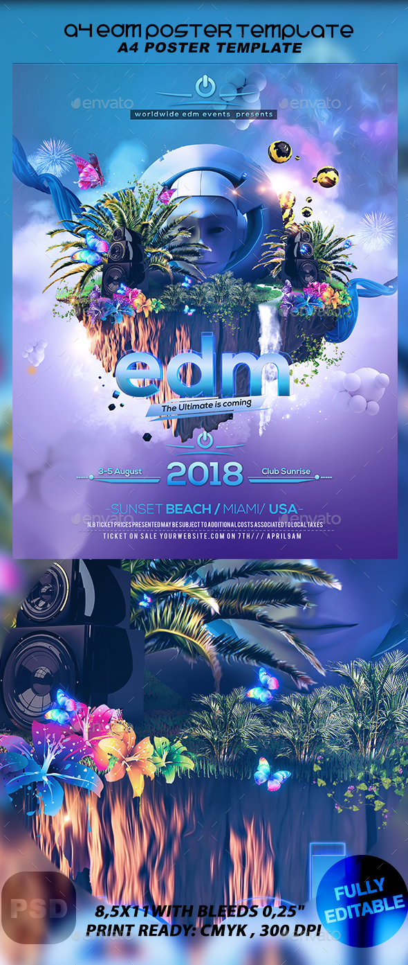 A4 EDM Poster Template - Events Flyers