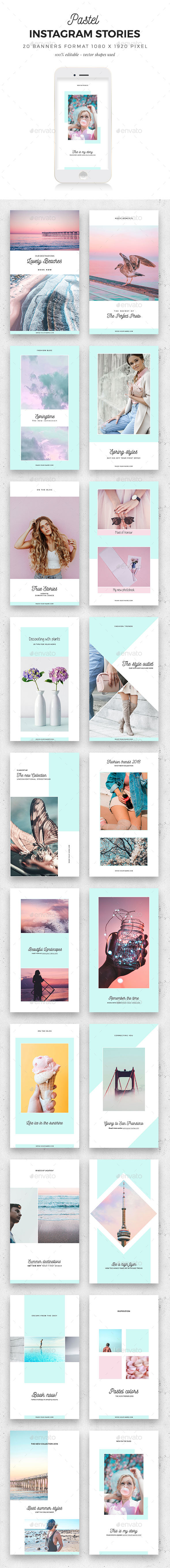 Instagram Stories Pastel - Social Media Web Elements