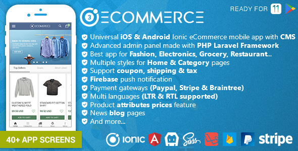 Ionic Ecommerce - Universal iOS & Android Ecommerce / Store Full Mobile App with Laravel CMS Nulled Scripts