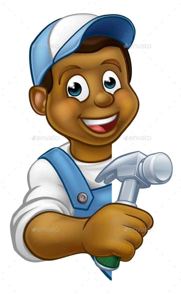 Carpenter Builder Cartoon - People Characters