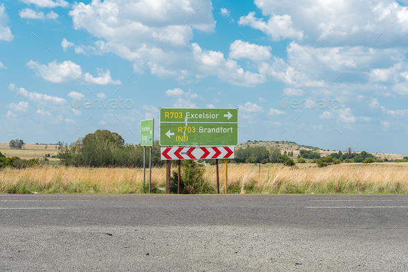 Directional road signs on the R703-road at Verkeerdevlei - Stock Photo - Images
