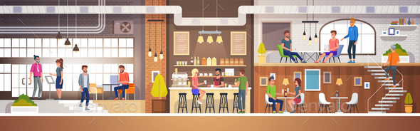 Modern Cafe Interior - Miscellaneous Vectors