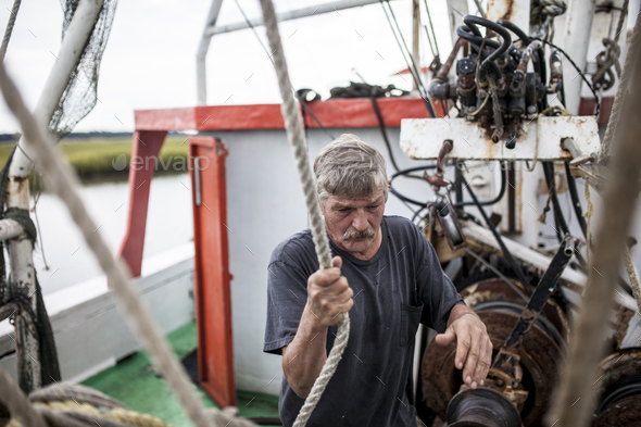 Weathered deckhand - Stock Photo - Images