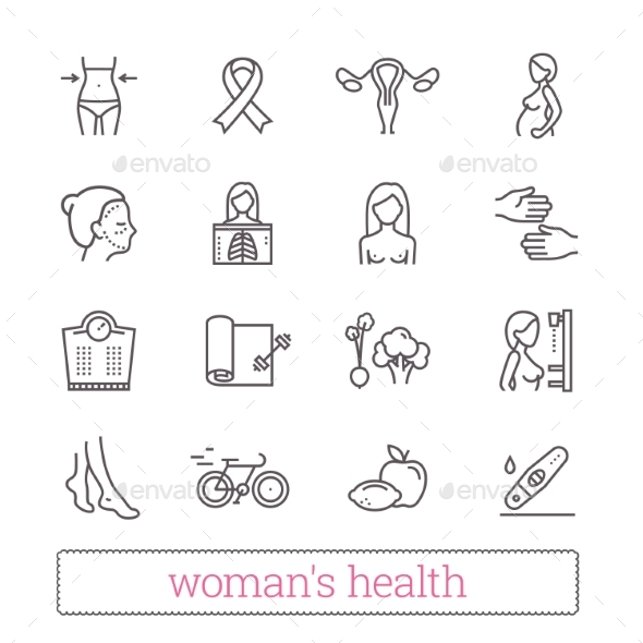 Woman's Health, Beauty & Medicine Thin Line Icons. - People Characters