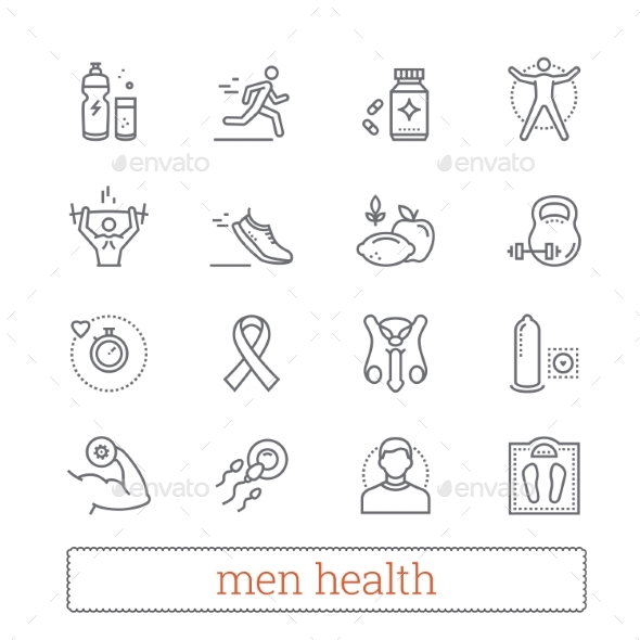 Men Health, Medicine & Lifestyle Thin Line Icons. - People Characters