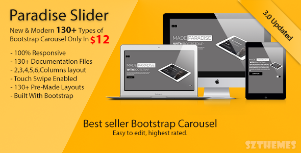 Paradise Slider - Responsive Bootstrap Carousel Plugin - CodeCanyon Item for Sale
