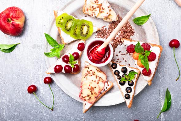 Fruit toast on grey background - Stock Photo - Images