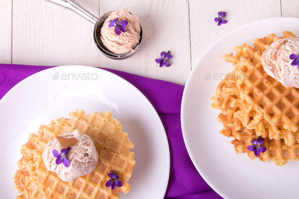 Belgian waffles with ice cream - Stock Photo - Images