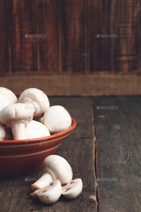 Fresh white mushrooms champignon - Stock Photo - Images