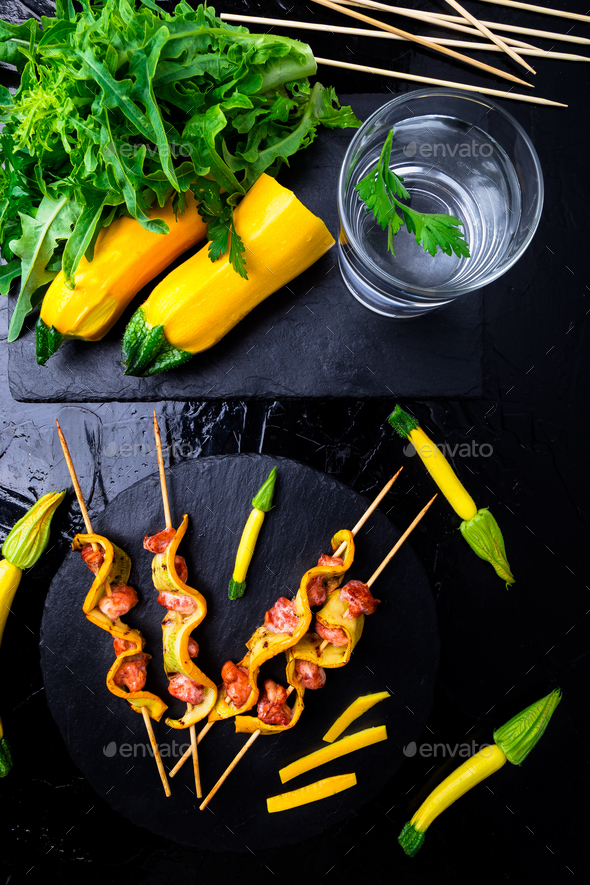 Zucchini and chicken kebab - Stock Photo - Images