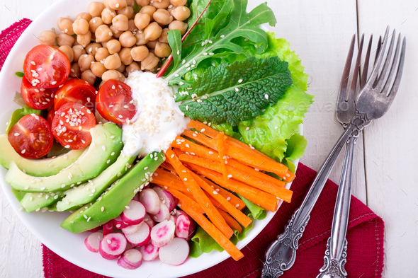 Vegan buddha bowl - Stock Photo - Images