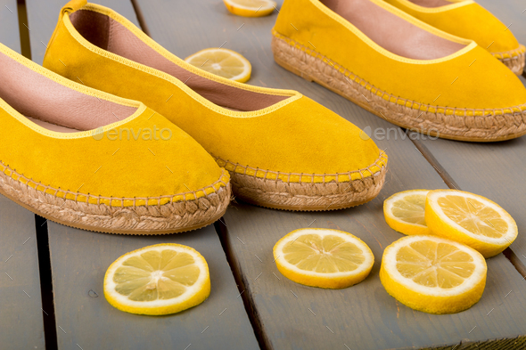 Yellow espadrilles shoes - Stock Photo - Images