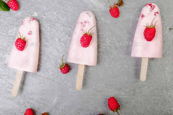 Raspberry ice cream - Stock Photo - Images