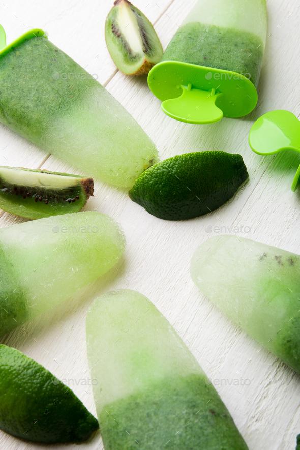 Green homemade ice cream - Stock Photo - Images