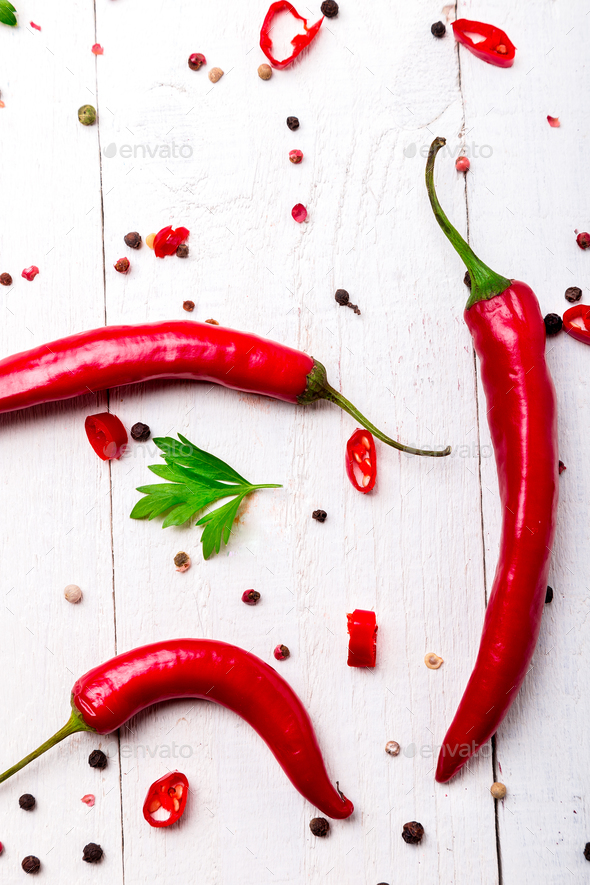 Red chili pepper and parsley - Stock Photo - Images
