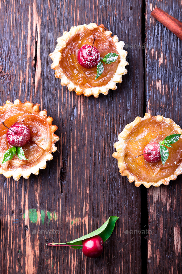 Apple caramel little tarts - Stock Photo - Images