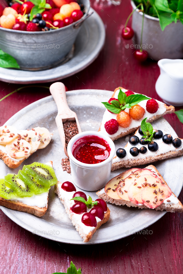 Fruit toast on red background - Stock Photo - Images