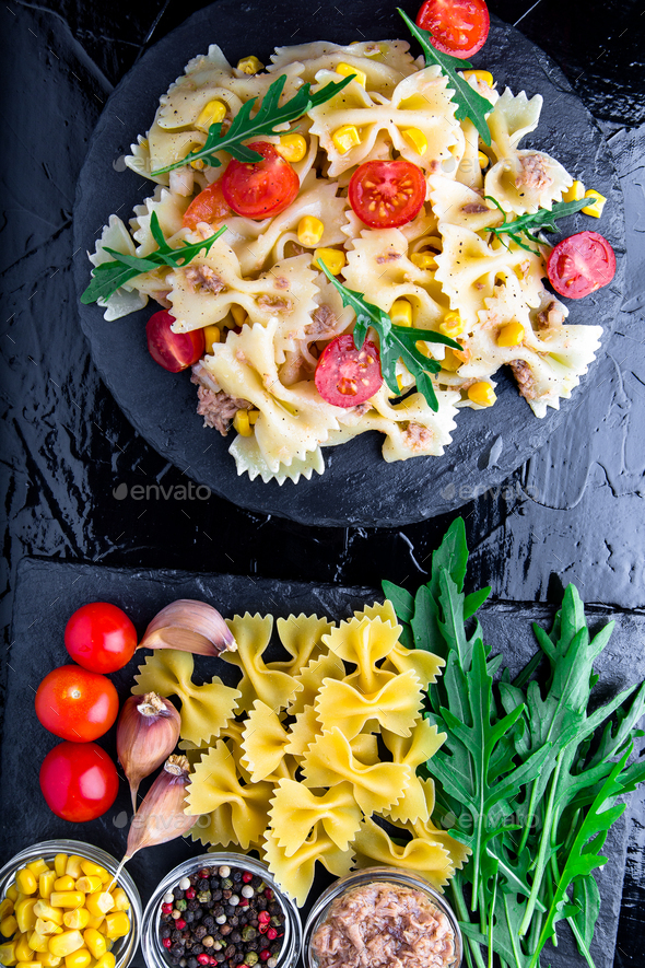 Pasta salad with tomatoes cherry - Stock Photo - Images