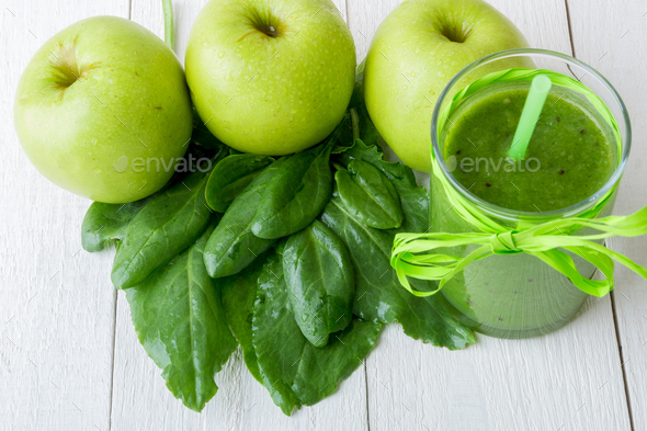 Green smoothie near ingredients - Stock Photo - Images