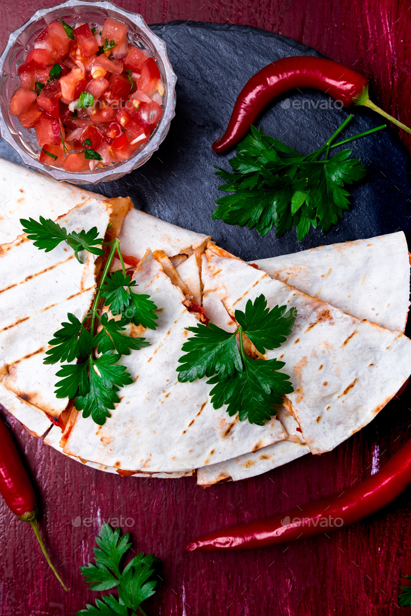 Mexican quesadilla with salsa - Stock Photo - Images