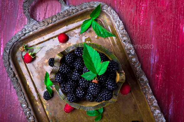 Red raspberry with leaf - Stock Photo - Images