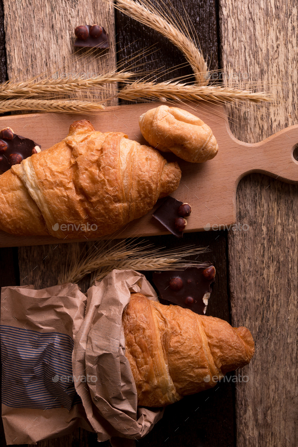 Croissants on board - Stock Photo - Images