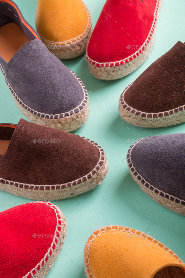 Four pair of espadrilles - Stock Photo - Images