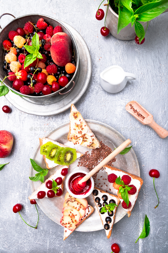 Fruit toast on grey background - Stock Photo - Images