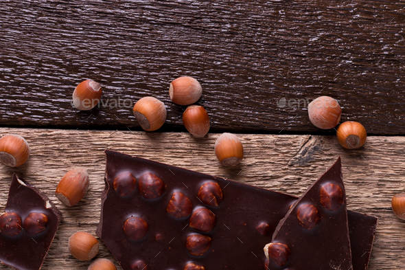 Chocolate pieces with hazelnut - Stock Photo - Images