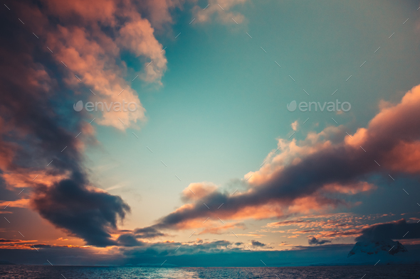 Summer sunset in Antarctica - Stock Photo - Images