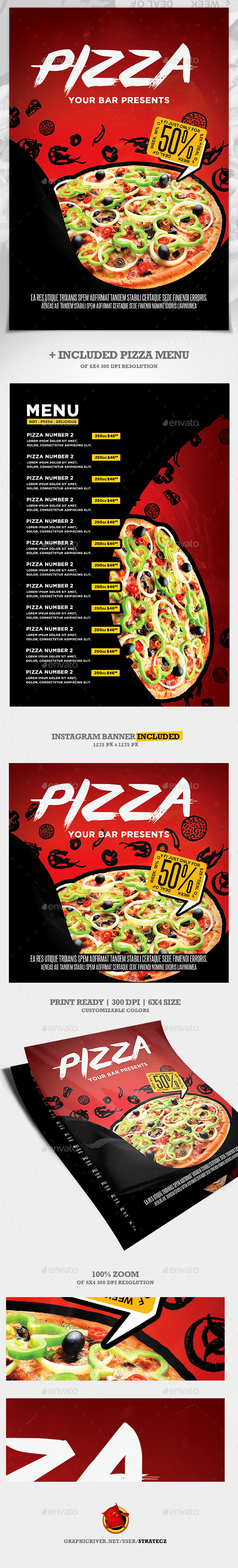 Pizza Flyer + Pizza Menu - Print Templates