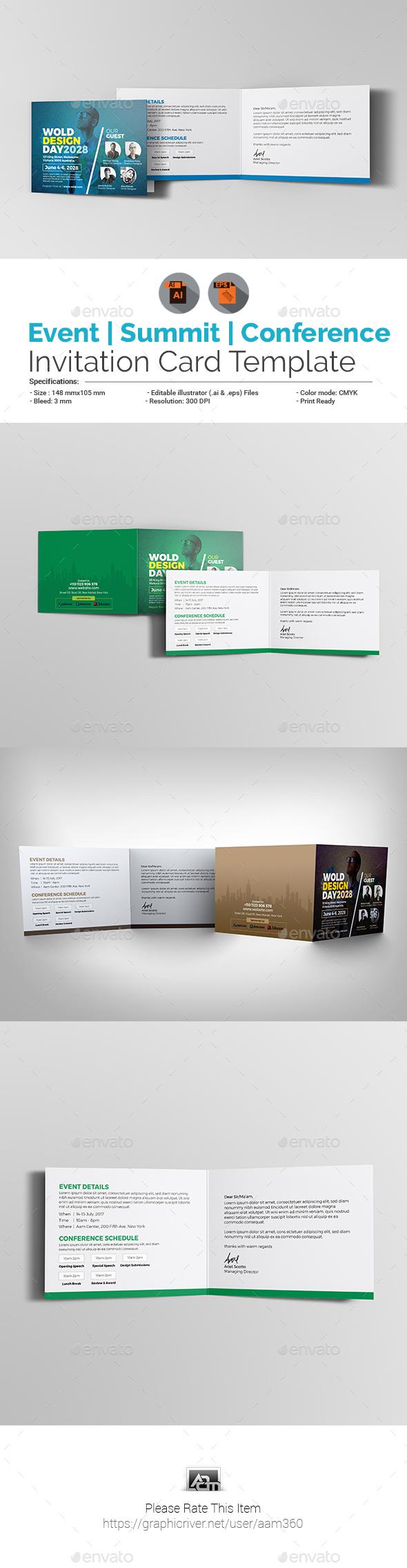 Event/Summit/Conference Invitation Card - Cards & Invites Print Templates