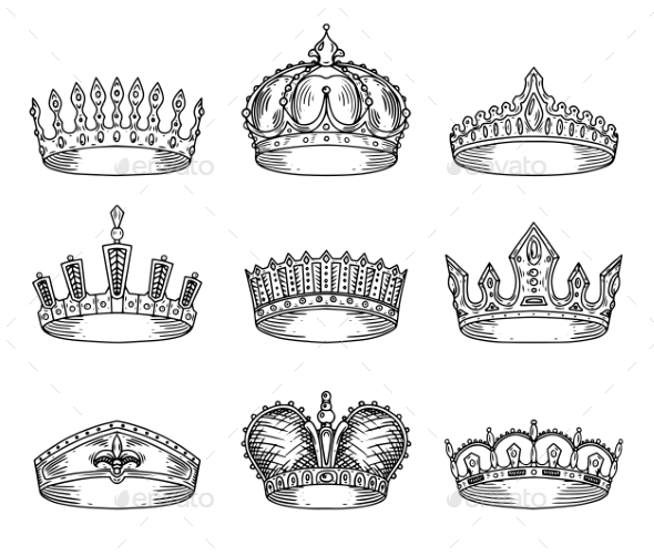 Set of Isolated Sketch for Crown or Tiaras - Miscellaneous Vectors