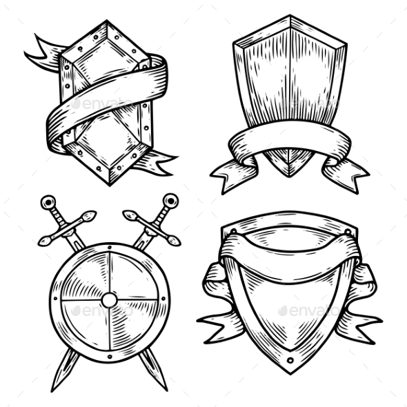 Set of Isolated Medieval Shields with Ribbons - Miscellaneous Vectors