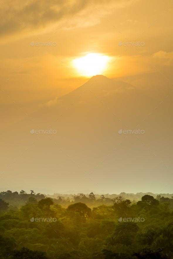 Volcan Tajumulco Guatemala Sunset - Stock Photo - Images