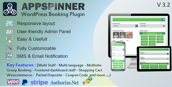 AppSpinner V 3.2 - Woocommerce Appointment Booking & Scheduling Wordpress Plugin - All features - CodeCanyon Item for Sale