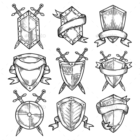 Blank or Empty Shields with Swords and Ribbons - Miscellaneous Vectors