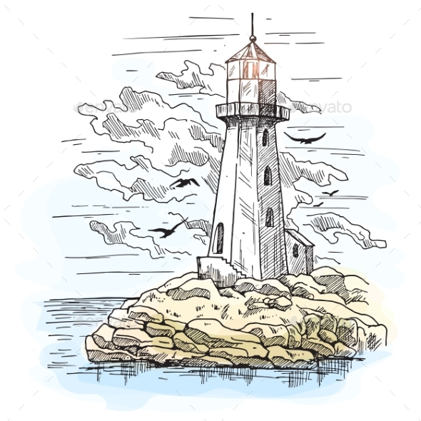 Island with Rocks and Lighthouse Building - Buildings Objects
