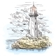 Island with Rocks and Lighthouse Building - GraphicRiver Item for Sale