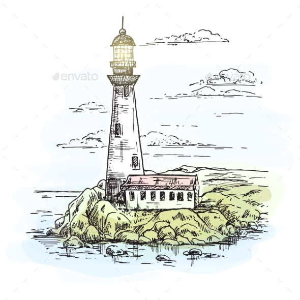 Lighthouse On Island With Rocks Sketch By Cookamoto