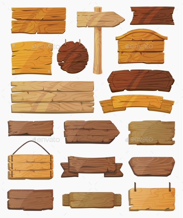 Set of Isolated Pointers Signs or Wooden Planks - Miscellaneous Vectors